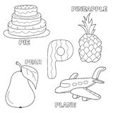 Kids alphabet coloring book page with outlined clip arts. Letter P. Pie, pear, pineapple, plane stock illustration