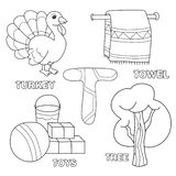 Kids alphabet coloring book page with outlined clip arts. Letter T. Toys, tree, towel, turkey vector illustration