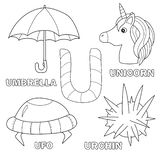 Kids alphabet coloring book page with outlined clip arts. Letter U. Umbrella, unicorn, ufo, urchin royalty free illustration