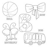 Kids alphabet coloring book page with outlined clip arts to color. Letter B. Bus, ball, bow, butterfly. Hand drawn outline cartoon character and letter for stock illustration