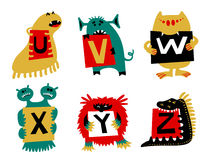Kids alphabet with cute colorful monsters or insects. Funny fi. Ctional character with letters in their paws. Vector illustration for school and education Royalty Free Stock Images