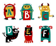 Kids alphabet with cute colorful monsters or insects. Funny fi Royalty Free Stock Images
