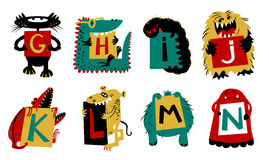 Kids alphabet with cute colorful monsters or insects. Funny fi. Ctional character with letters in their paws. Vector illustration for school and education Royalty Free Stock Image