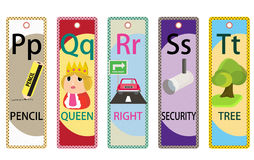 Kids Alphabet Educational Bookmarks Collection P-T Stock Photos