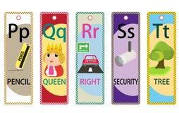 Kids Alphabet Educational Bookmarks Collection P-T Stock Photos