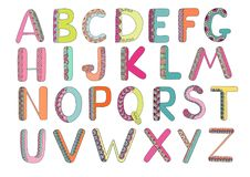 Kids alphabet with elements zen tangle Royalty Free Stock Images