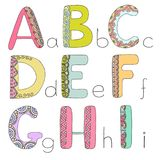 Kids alphabet with elements zen tangle. Doodling style for children education. Vector illustration on white background. Letters A - I Royalty Free Stock Photo