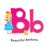 Kids alphabet. English letters with cartoon children characters. B for Beautiful Barbara girl with duck toy.  vector illustration
