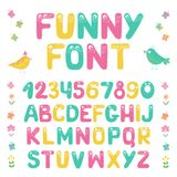 Kids alphabet with eyes and numeral. Big set of cute colorful smiling number characters from 0 to 9 and Kids alphabet with eyes. Funny Font. Cartoon vector Royalty Free Stock Photography