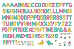 Kids alphabet with eyes and numeral. Big set of cute colorful smiling number characters from 0 to 9 and Kids alphabet with eyes. Funny Font. Cartoon vector Stock Photo