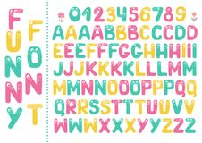 Kids alphabet with eyes and numeral. Big set of cute colorful smiling number characters from 0 to 9 and Kids alphabet with eyes. Funny Font. Cartoon vector Royalty Free Stock Images