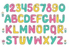 Kids alphabet with eyes and numeral. Big set of cute and funny colorful smiling number characters from 0 to 9 and Kids alphabet with eyes. Cartoon vector Royalty Free Stock Images