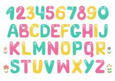 Kids alphabet with eyes and numeral. Big set of cute and funny colorful smiling number characters from 0 to 9 and Kids alphabet with eyes. Cartoon vector Stock Photography