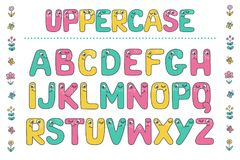 Kids alphabet with eyes and numeral. Cute colorful letters from Kids alphabet with eyes. Funny Font. Cartoon vector illustration on white background for children Royalty Free Stock Photos
