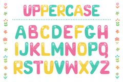 Kids alphabet with eyes and numeral. Cute colorful letters from Kids alphabet with eyes. Funny Font. Cartoon vector illustration on white background for children Stock Images