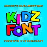 Kids alphabet font. Cartoon funny colorful letters, numbers and symbols on a halftone background. royalty free illustration
