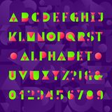 Kids alphabet font. Geometric style funny letters, numbers and symbols. Abstract background. Vector typeface for any typographic design Royalty Free Stock Photography