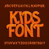 Kids alphabet font. Uppercase hand drawn letters and numbers. vector illustration