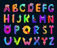 Kids alphabet with funny monster letters. Vector cute characters. Alphabet character monster, funny cartoon letter abc illustration Royalty Free Stock Photo