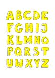 Kids alphabet hand drawn yellow vector sign set is. Kids vector alphabet letters hand drawn doodle cartoon yellow and black sign set isolated on white background Stock Images