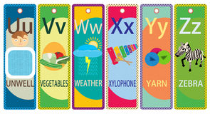 Kids Alphabet Printable Bookmarks Collection U-Z Stock Photos