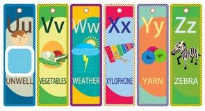 Kids Alphabet Printable Bookmarks Collection U-Z. Alphabet learning printable bookmark collection U-Z for children vector illustration