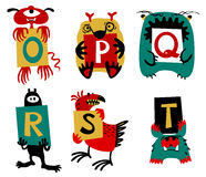 Kids alphabet with сute colorful monsters or insects. Funny fi. Ctional character with letters in their paws. Vector illustration for school and education Stock Image