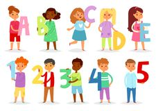 Kids alphabet vector cartoon children font and boy or girl character holding alphabetic letter or number illustration. Alphabetically set of childish lettering Royalty Free Illustration