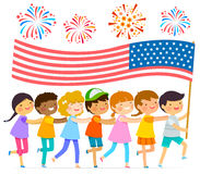 Kids with the American flag. Kids walking in a line with a big American flag Royalty Free Stock Photos