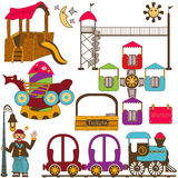 Kids amusement park color set Royalty Free Stock Photography