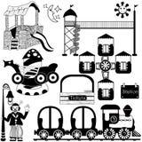 Kids amusement park set. Vector collection of different kids amusement park images Royalty Free Stock Photography
