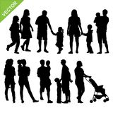 Kids And Family Silhouette Vector Royalty Free Stock Photography