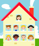 Kids And House Stock Photography