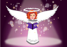 Kids angel read Holy bible illustration Royalty Free Stock Image