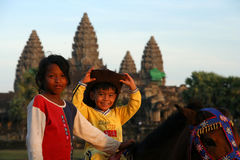 Kids at Angkor Wat Royalty Free Stock Photo