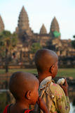 Kids at Angkor Wat Stock Images