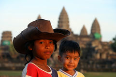 Kids at Angkor Wat Stock Photo