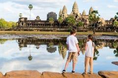 Kids at Angkor Wat temple royalty free stock photos