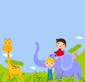 Kids and animal Royalty Free Stock Image