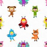 Kids in animal costume wallpaper. This is kids in animal costume wallpaper design Stock Images