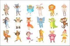 Kids In Animal Costumes Set vector illustration