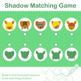 Kids animal learning game, find the correct shadow. Colorful kids animal learning game, find the correct shadow - vector illustration Stock Photography