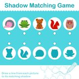 Kids animal learning game, find the correct shadow. Kids woodland animal learning game, find the correct shadow - vector illustration Stock Photos