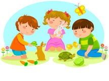Kids with animals Stock Photo