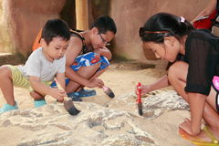 Kids Archeology. Kids discovery of a dinosaur bone buried in the sand at the Singapore Jurong Bird Park Stock Photos
