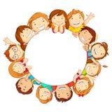 Kids around Circle. Vector illustration of happy kids around circular copy space Stock Photos