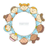 Kids Around Circle Whiteboard. Doodle illustration: Kids showing a round whiteboard Royalty Free Stock Photos
