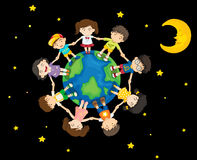 Kids around the Earth Royalty Free Stock Image