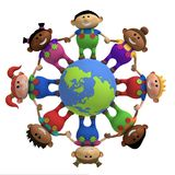 Kids around globe holding hands. Multi-ethnic cartoon kids holding hands around a globe -  3d rendering/illustration Royalty Free Stock Images