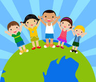Kids around globe holding hands. Multi-ethnic cartoon kids holding hands around a globe Stock Photo